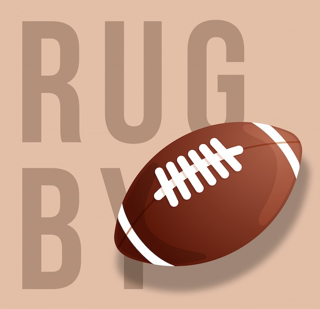Streszczenie ilustracja piłki do rugby na tle piasku. tekst rugby. .