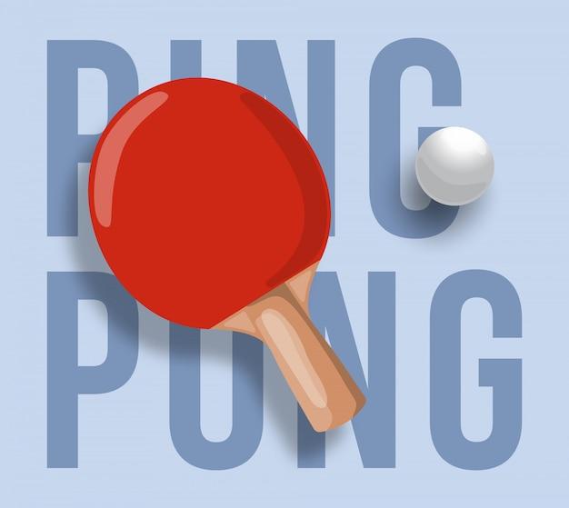 Streszczenie ilustracja rakiety do ping ponga na jasnym tle. tekst do ping ponga. tenis stołowy.