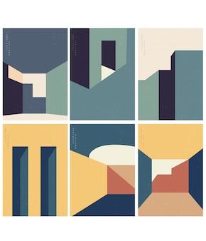 Streszczenie ilustracji architektury z geometrycznym stylem z nowoczesnym zestawem budynków