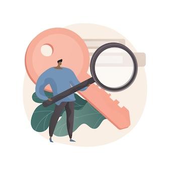 Streszczenie ilustracji badań słów kluczowych w stylu płaskiej