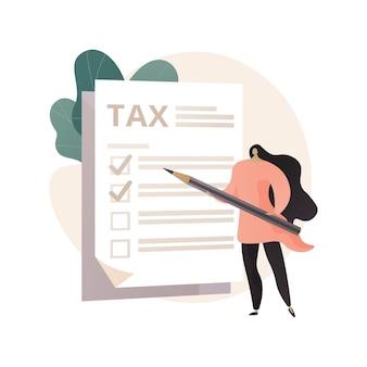 Streszczenie ilustracji formularza podatku w stylu płaski
