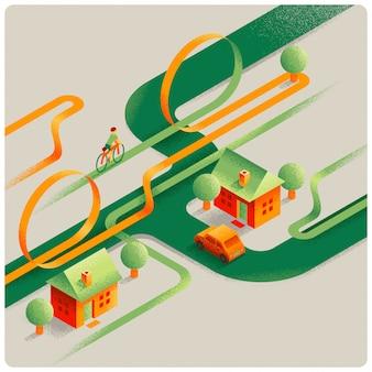 Streszczenie ilustracji wektorowych miasta