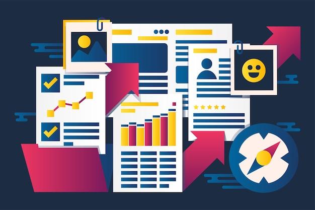 Streszczenie ilustracji wektorowych portfolio personelu. tempo wzrostu firmy, pracownicy wznawiają kolaż