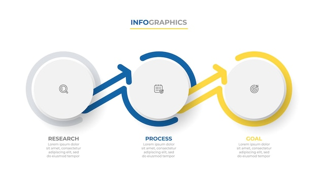 Streszczenie infografika z okręgiem i strzałkami koncepcja biznesowa z 3 opcjami lub krokami