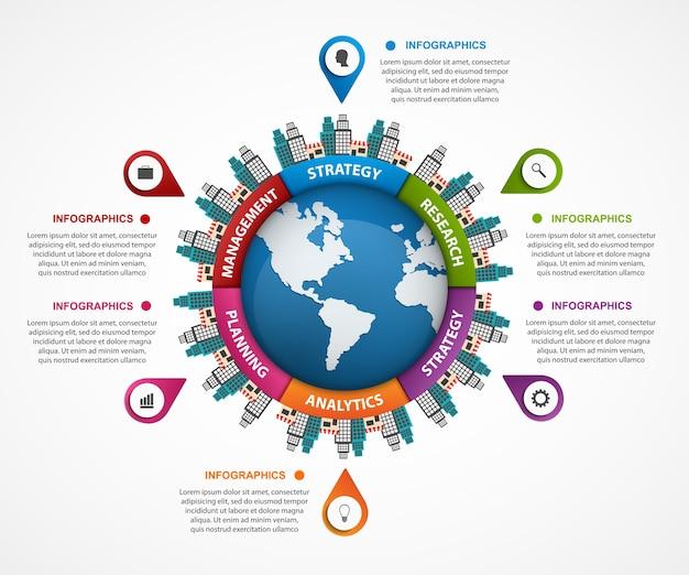 Streszczenie infografikę na ziemi w centrum.