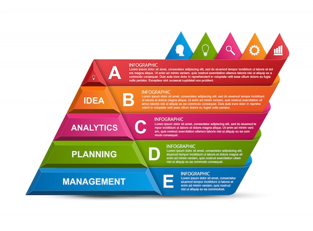 Streszczenie infografiki opcje piramidy 3d.