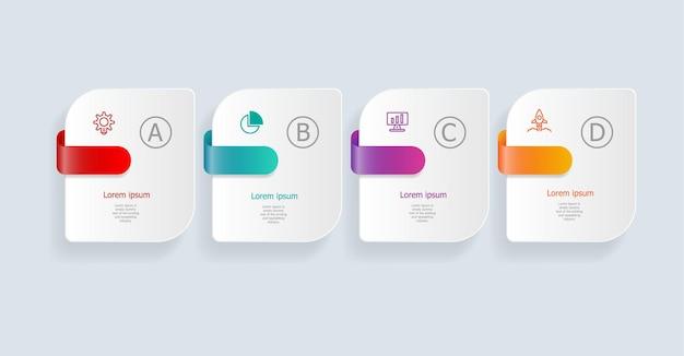 Streszczenie infografiki poziome kroki dla biznesu i prezentacji