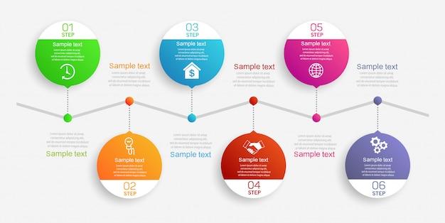 Streszczenie infografiki szablon z 6 krokami
