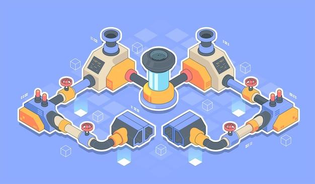 Streszczenie izometryczny sprzęt do produkcji przemysłowej linii produkcyjnej