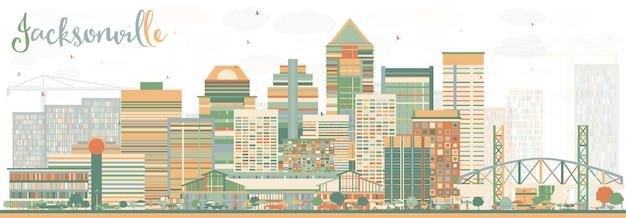 Streszczenie jacksonville skyline z kolorowymi budynkami. ilustracja wektorowa. podróże służbowe i koncepcja turystyki z nowoczesną architekturą. obraz banera prezentacji i witryny sieci web.
