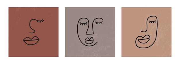 Streszczenie jednej linii ciągłego rysowania twarzy. sztuka minimalizmu, estetyczny kontur. linia ciągła para plemiennych portret. nowoczesna ilustracja wektorowa w stylu etnicznym z nagim tłem
