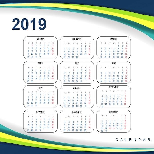 Streszczenie kalendarz kolorowy 2019 szablon fala projekt