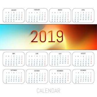 Streszczenie kalendarz kolorowy 2019 szablon tło