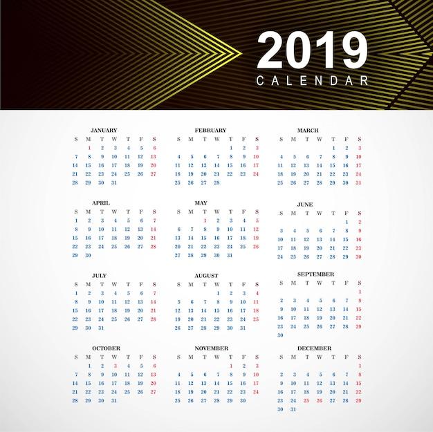 Streszczenie kalendarz kolorowy 2019 szablon