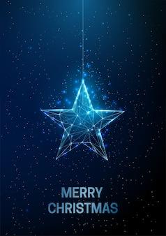 Streszczenie kartkę z życzeniami szczęśliwego nowego roku z wiszącą gwiazdą bożego narodzenia. projekt w stylu low poly streszczenie geometryczne tło konstrukcja lekka szkieletowa nowoczesna koncepcja grafiki 3d. odosobniony