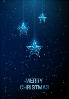 Streszczenie kartkę z życzeniami szczęśliwego nowego roku z wiszącymi gwiazdami bożonarodzeniowymi projekt w stylu low poly streszczenie geometryczne tło konstrukcja lekka szkieletowa nowoczesna koncepcja grafiki 3d. odosobniony