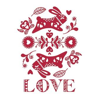 Streszczenie karty walentynki ludowe z królikami i kwiatami