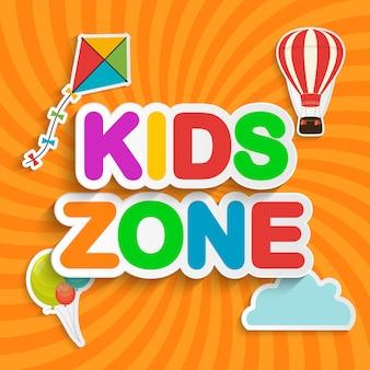 Streszczenie kids zone na pomarańczowym tle. ilustracja