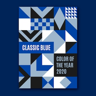 Streszczenie klasyczny niebieski kształt ulotki szablon