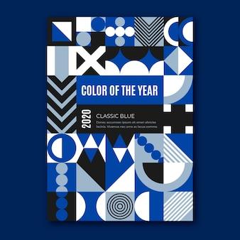 Streszczenie klasyczny niebieski kształtów plakat szablon