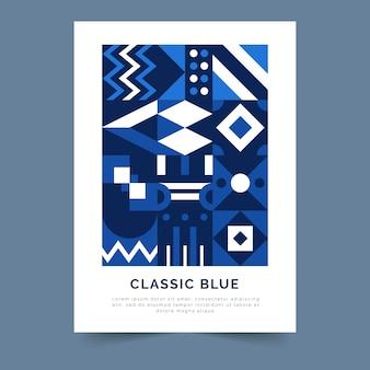 Streszczenie klasyczny niebieski plakat szablon projektu
