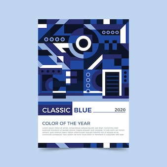 Streszczenie klasyczny niebieski plakat szablon