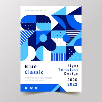 Streszczenie klasyczny niebieski projekt ulotki