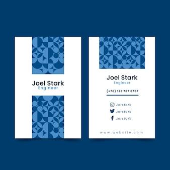 Streszczenie klasyczny niebieski szablon wizytówki