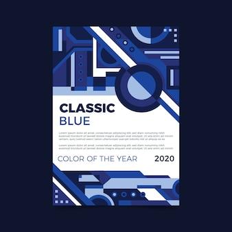Streszczenie klasyczny niebieski ulotki szablon