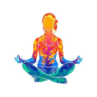 Streszczenie kobieta medytuje od plusk akwareli. pozycja lotosu jogi fitness. ilustracja farb
