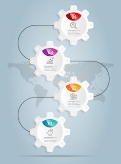 Streszczenie koła zębate koła zębate pionowe infografiki prezentacja elementu szablonu z ikoną biznesową 4 opcja wektor ilustracja tło