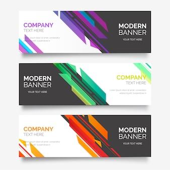 Streszczenie kolekcji baner z nowoczesnymi kształtami