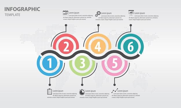 Streszczenie koło infografika 6 opcji