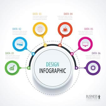 Streszczenie koło infografiki numer opcji szablon.