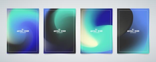 Streszczenie kolor niebieski i zielony hologram siatki projekt okładki zestaw szablonu.