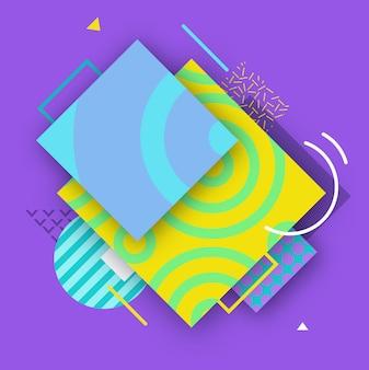 Streszczenie kolor plakat w modnym stylu z geometrycznymi kształtami