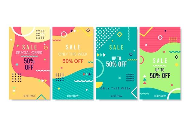 Streszczenie kolorowe historie sprzedaży instagram