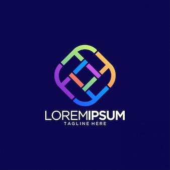 Streszczenie kolorowe linii logo szablon wektor