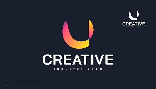 Streszczenie kolorowe litery u logo design. pierwsza litera u tożsamość