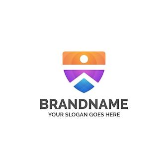Streszczenie kolorowe logo tarczy