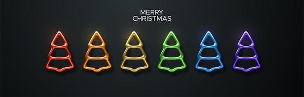 Streszczenie kolorowe metalowe choinki zestaw i znak wesołych świąt