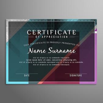 Streszczenie kolorowe nowoczesne wzornictwo certyfikatu