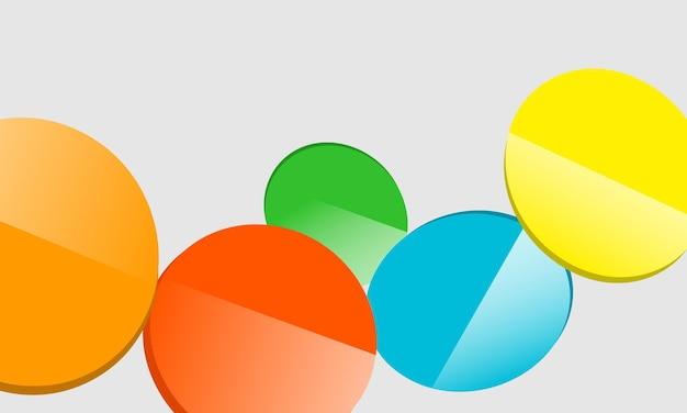 Streszczenie kolorowe szklane koło na szarym tle. nowy szablon twojego plakatu.