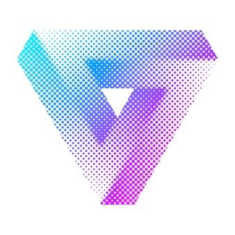 Streszczenie kolorowy jasny trójkąt półtonów. tribar penrose'a.