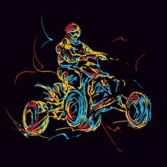 Streszczenie kolorowy jeździec atv