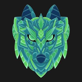 Streszczenie kolorowy ornament doodle zentangle sztuki wilk ilustracja koncepcja kreskówka wektor. nadaje się do logo, tapety, banera, tła, karty, ilustracji książki, projektu koszulki, naklejki, okładki itp