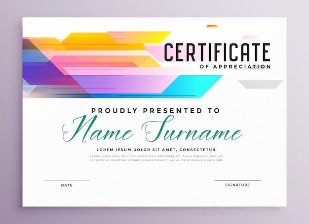 Streszczenie kolorowy szablon certyfikatu uniwersalnego w stylu geometrycznym