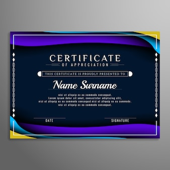 Streszczenie kolorowy szablon certyfikatu