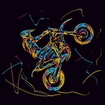 Streszczenie kolorowy zawodnik motorcross