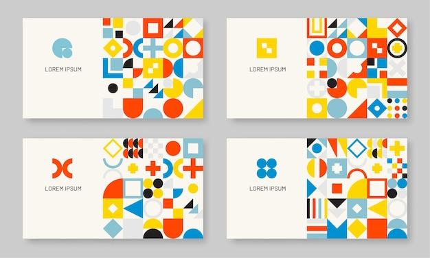 Streszczenie kolorowy zestaw geometrycznej wizytówki bauhaus